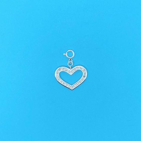 Genuine 925 Sterling Silver Heart Set With Cubic Zirconia Clip On Pendant